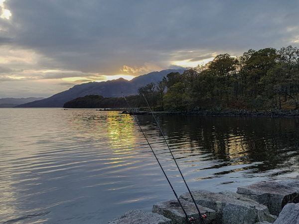 Sunset over Loch Etive. Fishing near Barrs on a calm November evening