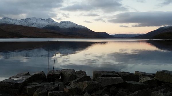Early morning - calm, cold and clear on Loch Etive as I watch my rods for a sign of fish biting