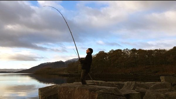 Striking into a spurdog, early November morning on Loch Etive. Cool, clear and beautiful.