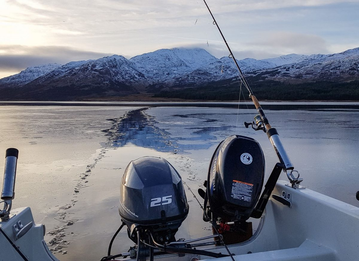 My Longliner 2 is sitting at anchor on Loch Etive and carving a path through a sheet of ice floating past on the tide.