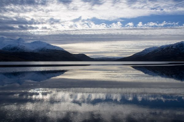 A beautiful but bitterly cold winter scene on Loch Etive, looking SW past Ben Cruachan