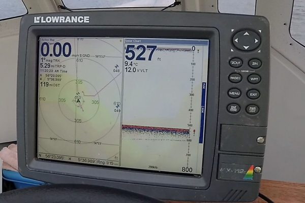 Deep water - the sonar reads nearly 530 feet to the muddy seafloor