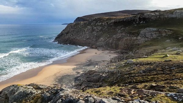 A cracking campsite on the machair, perched just above a beautiful beach in North West Sutherland