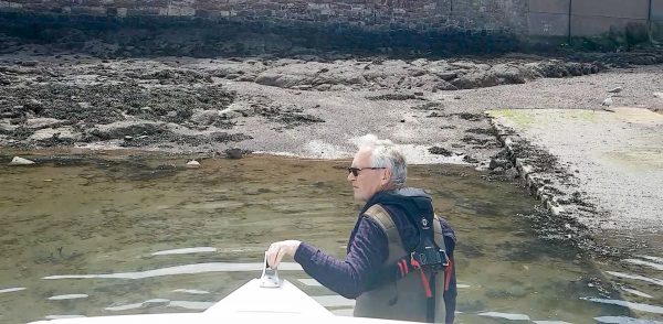 Leading my boat the last few yards to the slipway at Dunbar harbour