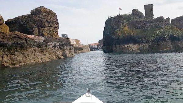 A view of Dunbar harbour entrance from the seaward side