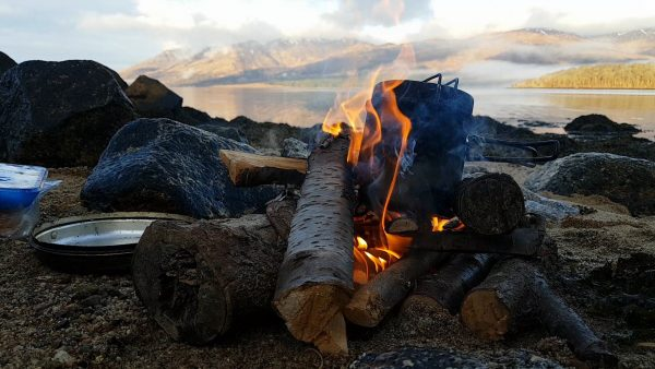 Morning coffee sits on the fire as I look across Loch Etive on a clear, calm, spring morning