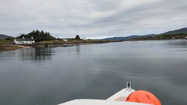 Entering the calm but narrow waters of the Sound of Ulva, west coast of Mull