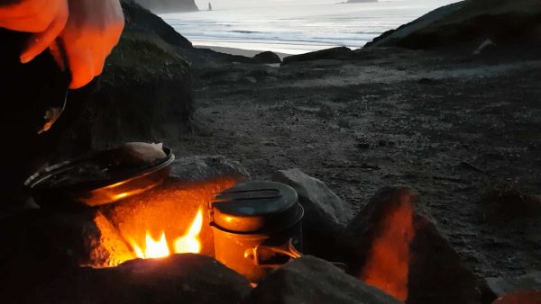 Dinner eaten and a single malt awaits as dusk falls over my camp, Sandwood beach.
