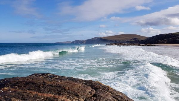 A lovely surf pounds in to Sandwood beach on a clear September morning in NW Scotland