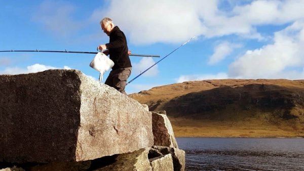 A small thornback ray adds variety to the catch on Loch Etive