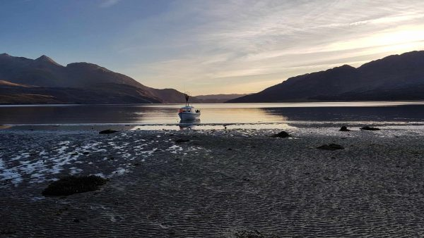 Sandy beach at Barrs, Loch Etive. just after the sun has disappeared for the evening