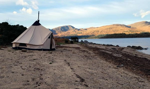 A nice, but rather insecure, camp on the sandy shores of Loch Etive