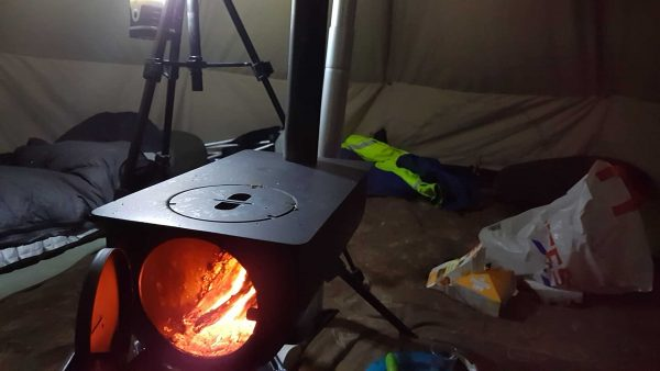 The woodburner proved almost too hot for us, and certainly heated the tent