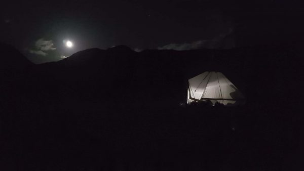 Our tent shows up nicely againts the large moon on Loch Etive