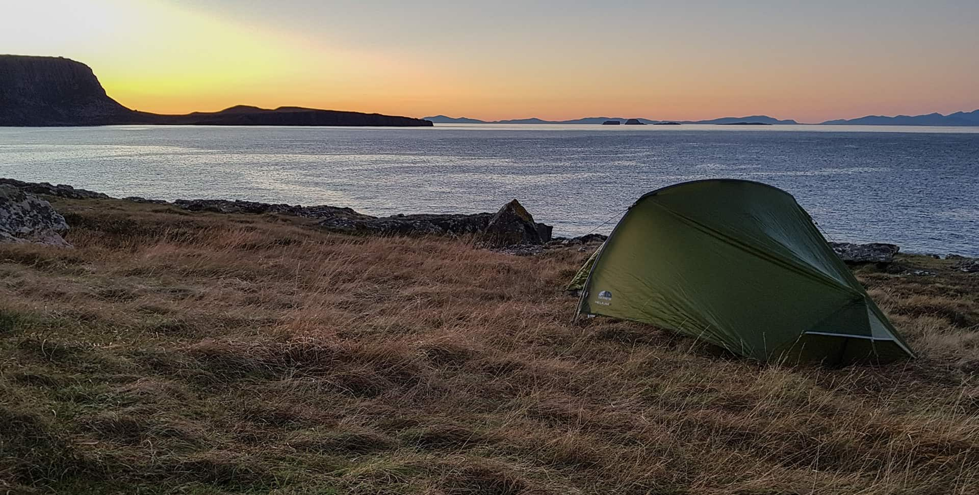 Room with a view, my tent perched near the shoreline on the northern edge of Skye