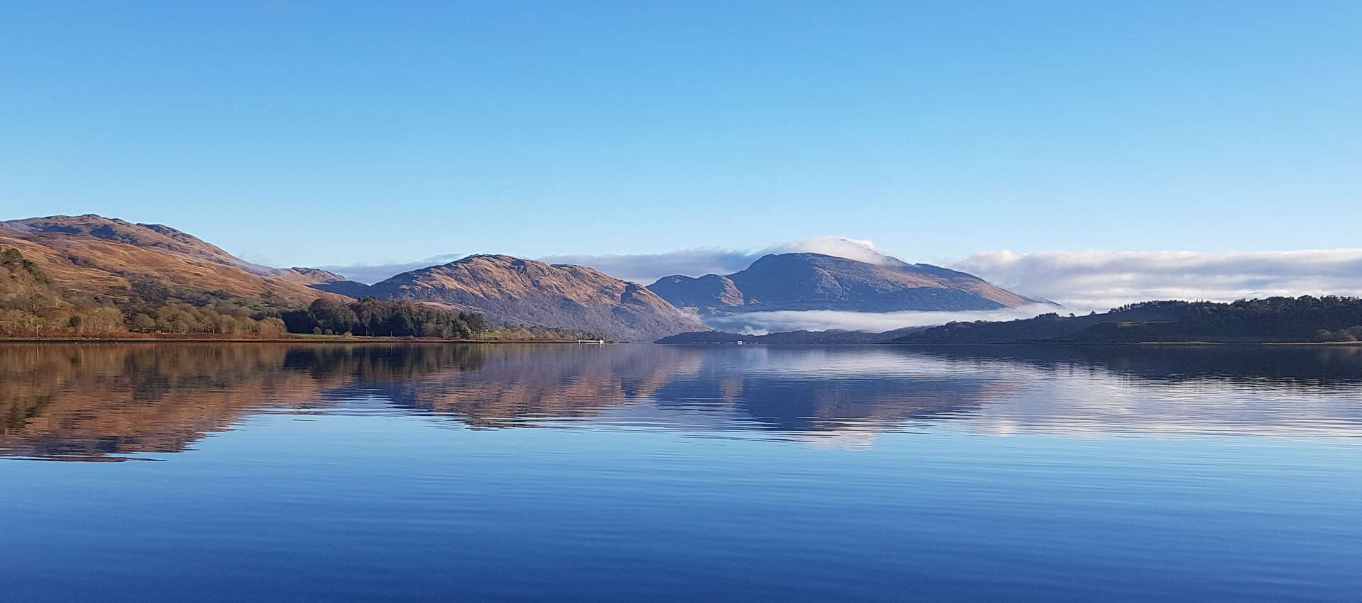 A perfect winters day on Loch Etive, looking towards the snow capped Ben Cruachan