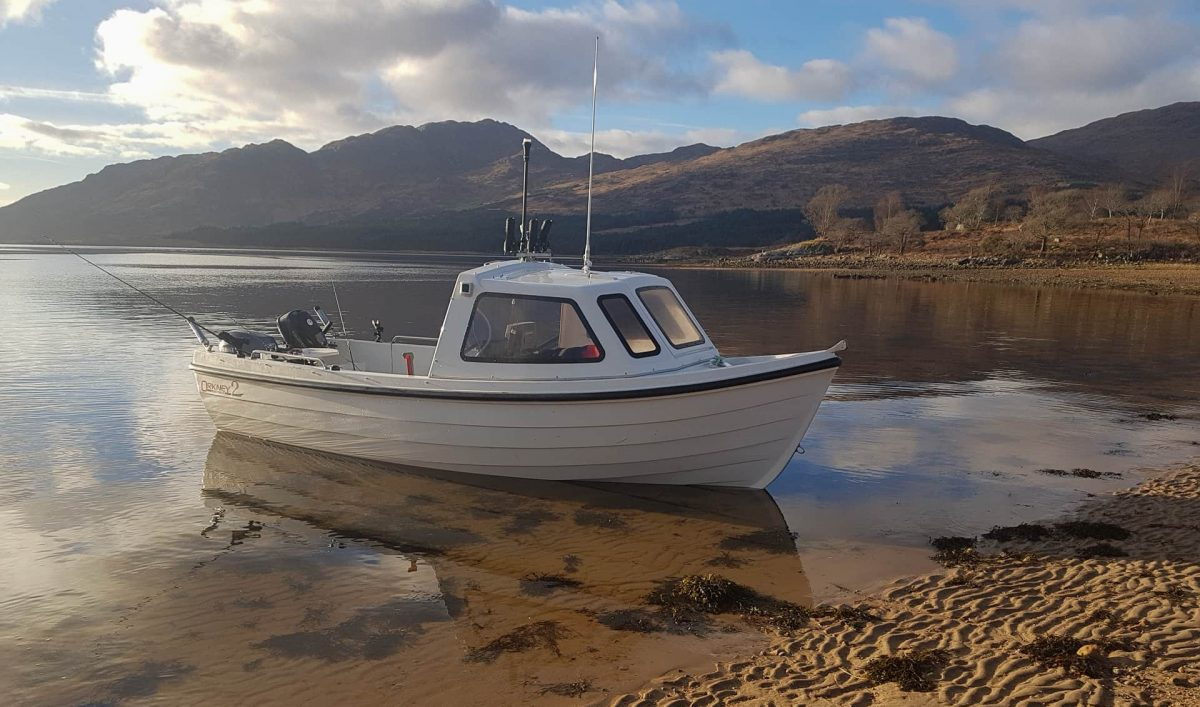 My boat ashore at Barrs Beach, Loch Etive