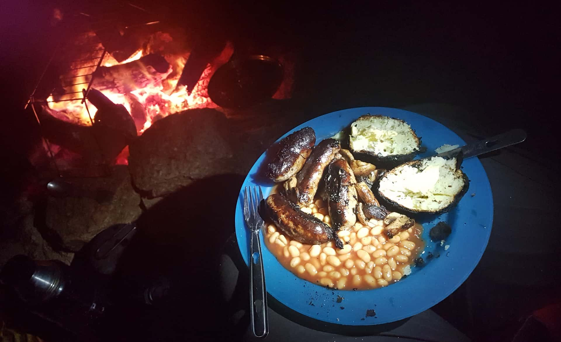 Basic, but most welcome. Sausages, baked potatoes and beans cooked under the stars and over an open campfire on New Year's Day 2019
