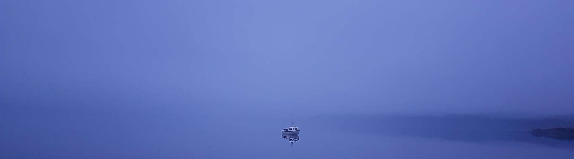 Very hard to tell the difference between sea and sky on this misty morning on Loch Etive - our little boat appears suspended rather than afloat
