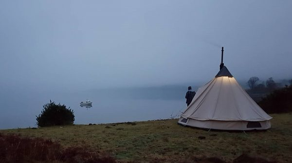 A January camp on the shores of Loch Etive, but with all the comforts of home - a large tent and wood burner included.
