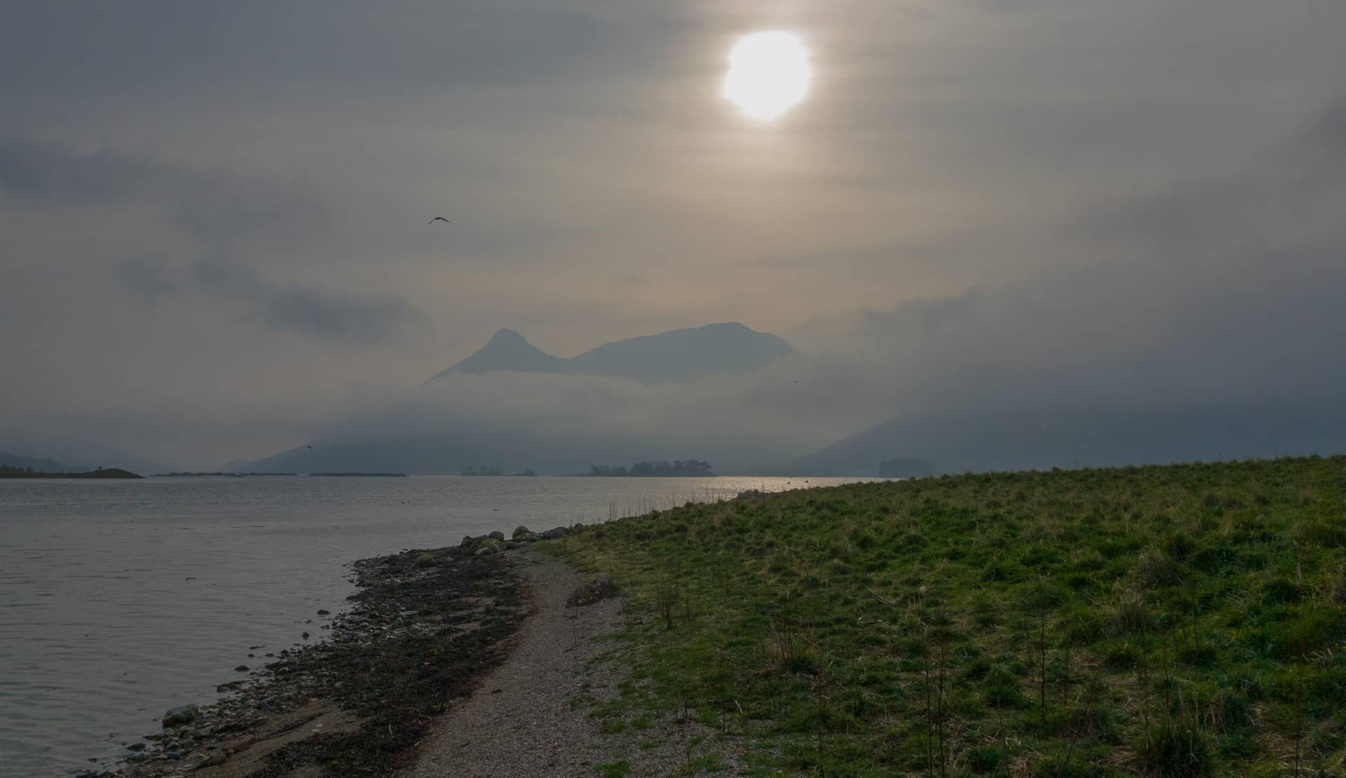 Hazy sunshine on Loch Leven, April 2019