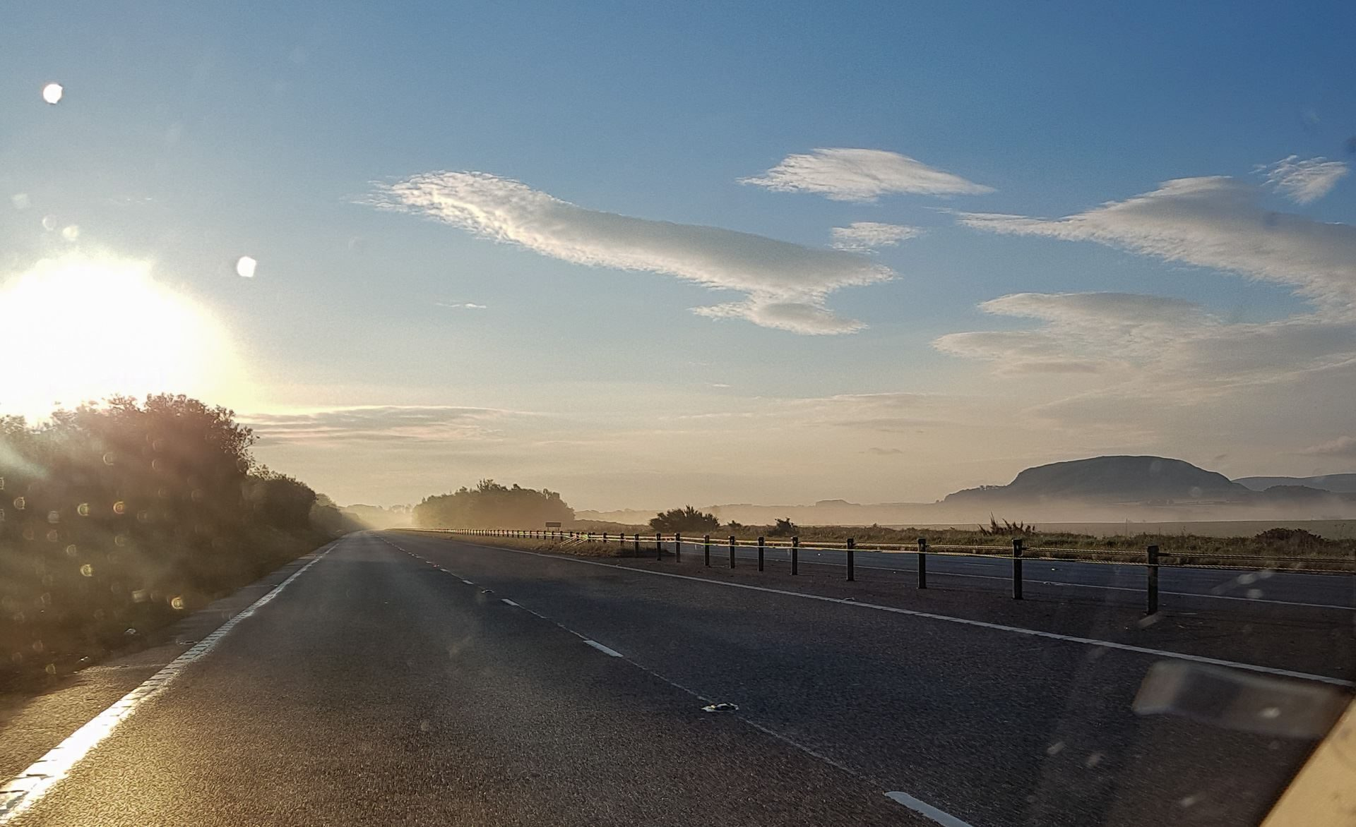 A fine morning towing my boat along a very queit A1 with a few early mist patches
