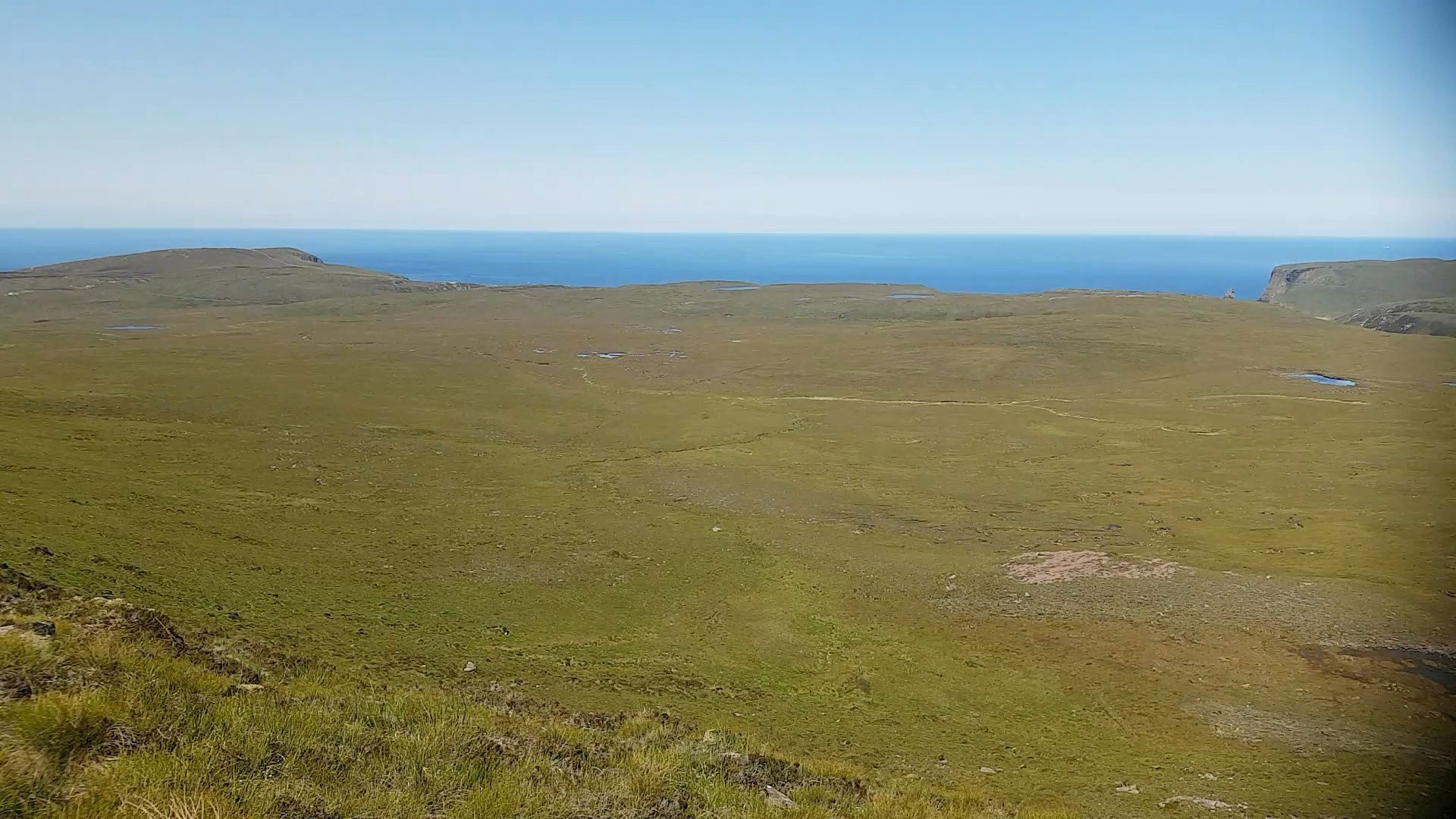 Looking north, towards Cape Wrath and Kervaig and across the rock, peat and bogs of the Parph