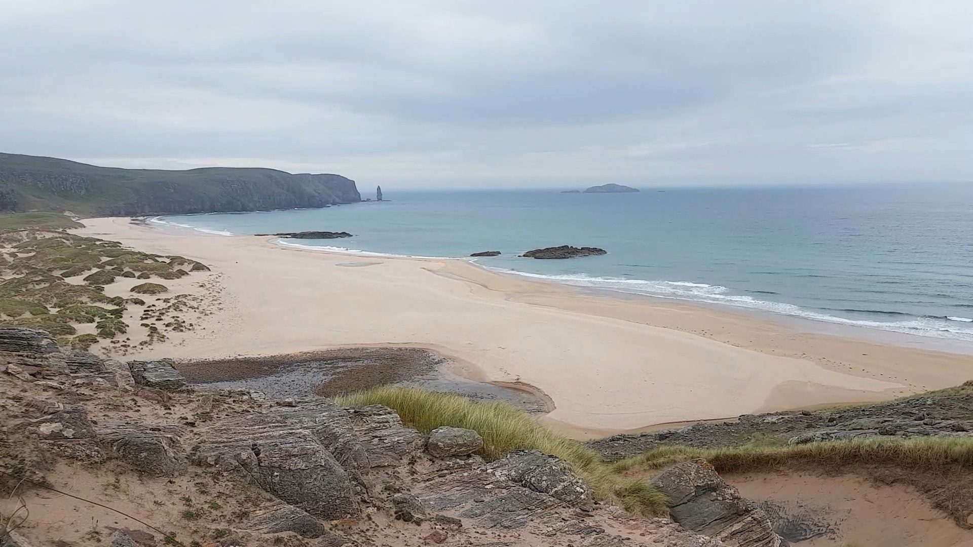 A view of Sandwood Bay from the hills at the northern end