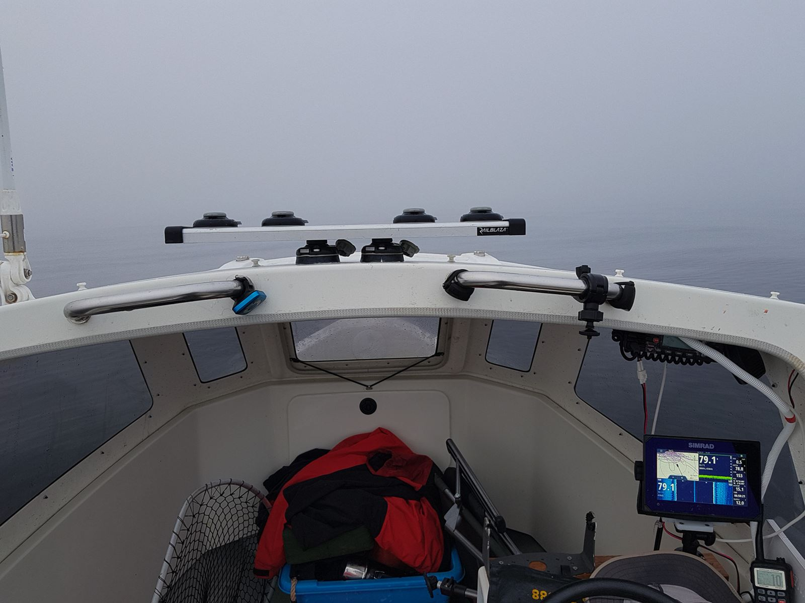 Thick fog cuts visibility to a few tens of metres a few miles off Dunbar.