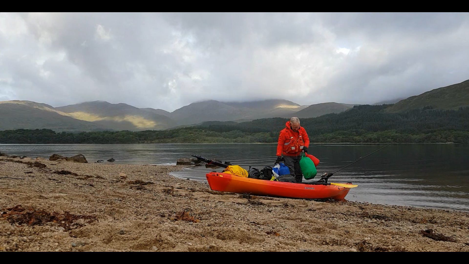 Reloading my kayak for the trip back up the loch