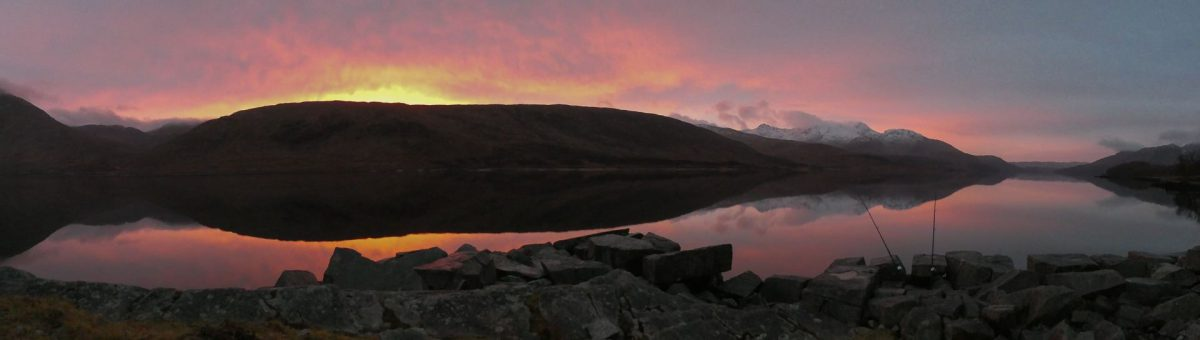 Just before sunrise, with my rods sitting over a calm Loch Etive and a snow covered Ben Cruachan in the background