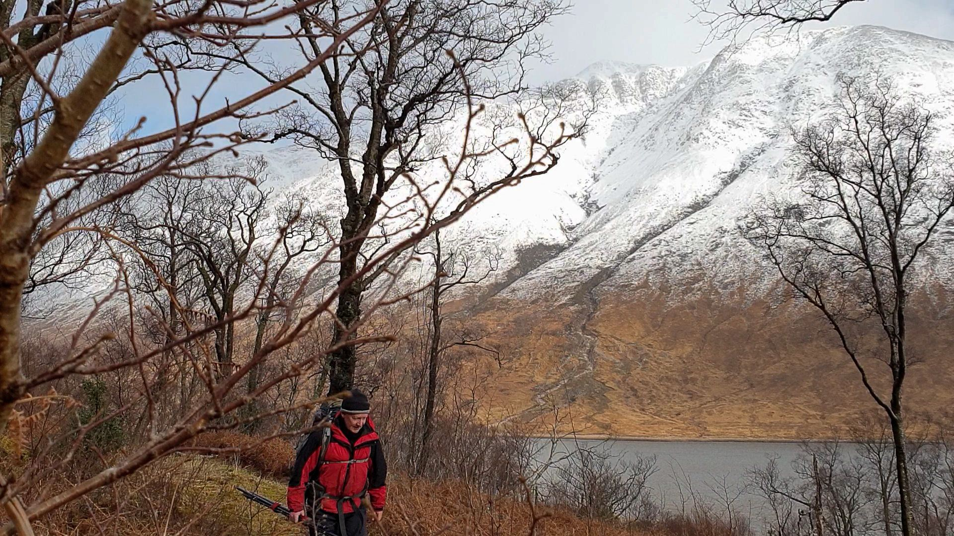 A snow covered Ben Starav offers a chilly backdrop to my hike along Loch Etive