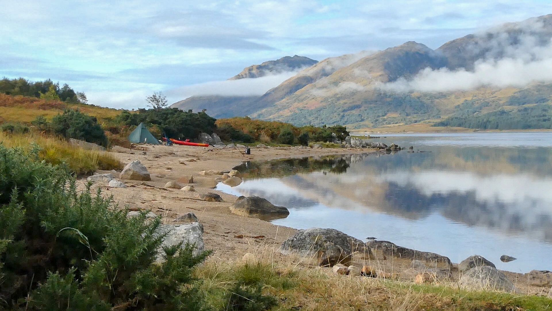 Kayak camping on a remote beach on Loch Etive